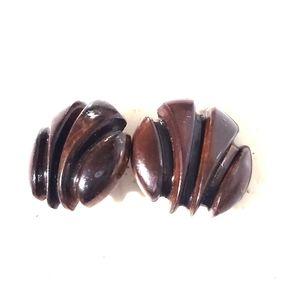 Wooden walnut designed clip on earrings